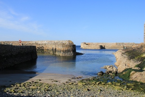 Portsoy harbour walls Aberdeenshire.
